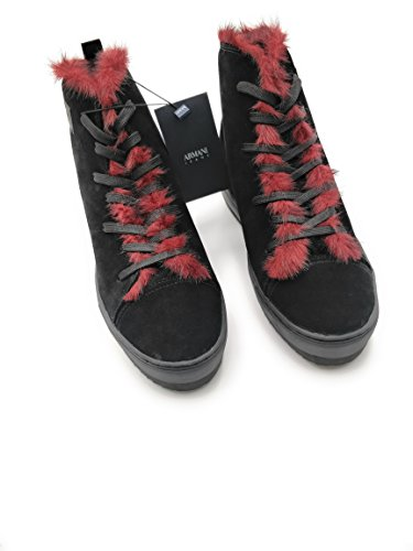Piel para Armani negro mujer negro Zapatillas de vnaaHE0