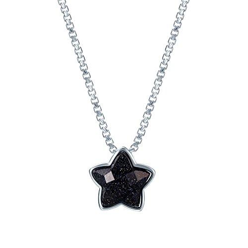 Silverage Argent sterling Noir Galaxy étoile Pendentif Collier 45,7cm