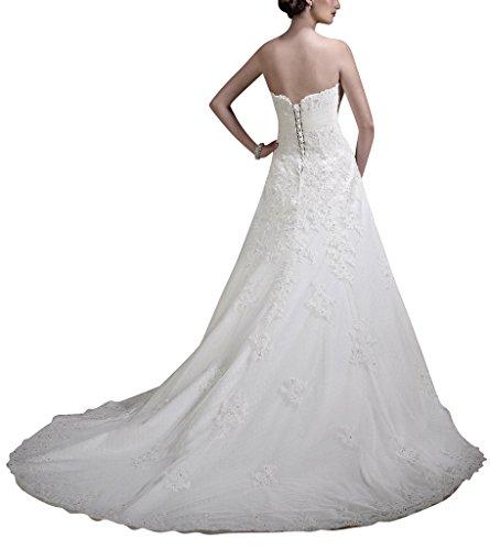 mit Weste Weiß BRIDE Spitze Brautkleid GEORGE herzfoermiger Ausschnitt einem Spitzentuch x1qwXBX8nA