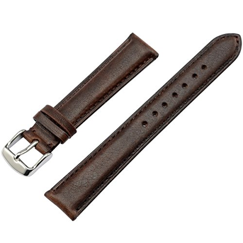 WOCCI Watch Bands Brown Leather Strap Vintage Series Replacement Watchband with Silver Stainless Pins Clasp