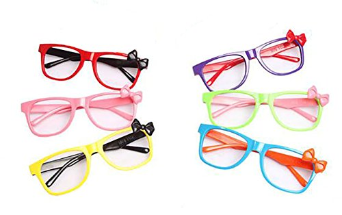Set of 6 Children Kids Colourful Fashion Cute Bowknot Glasses Frame without Lenses Nerdy Retro Glasses Party Supplies