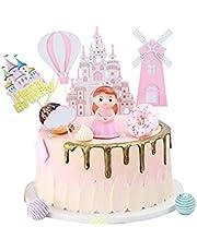 Kaimeilai Taartdecoratie decoratie, taartdecoratie prinses Castle windmolen, roze verjaardag taart topper, kinderen meisjes slot party decoratie