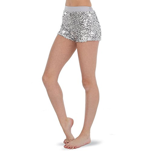 Alexandra Collection Womens Lined Sequin Dance Shorts Silver Medium]()