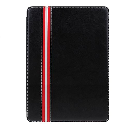 IKASEFU Wallet Simple Strip Pattern Series PU Leather Protective Book Style Folio Case Cover with Stand for iPad Air 2/iPad 6(2014 Release)(Black)
