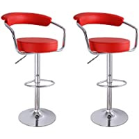 Adeco Red Leatherette Cushioned Adjustable Barstool Chair, Curved Back, Chrome Arms Pedestal Base (Set of Two)
