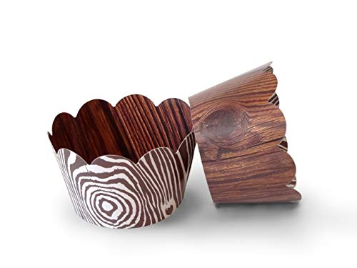 Wood Grain Cupcake Wrappers 48pcs Kids Party Cake Decorations - Lumberjack Theme, Woodsy Rustic Wedding Decoration - Pretty Cute Studios, 48 Count (48)]()