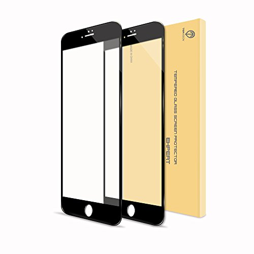 iPhone 7 Plus Screen Protector, TOPVISION 2 PACK Full Screen Cover Tempered Glass Protective Film - BLACK