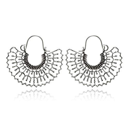 Geometric Spider Web Pendant Drop Earrings Bohemian Hollow Flower Earring Women Dangle Earring Jewelry Accessories,6677-silver