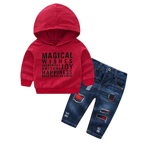 Kehen 2pcs Kids Toddler Boy Girl Autumn Winter Outfit Cotton Hoodies Top + Denim Jeans Destroy Ripped Pants with Patch Red 4T ()