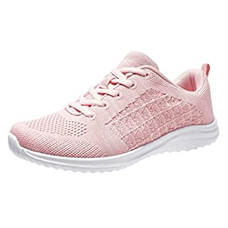 YILAN Women's Fashion Sneakers Breathable Sport Shoes (8.5, Pink-5)