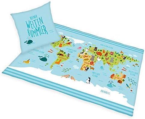 Bettwäsche Herding glatt Weltkarte Kleiner Weltenbummler 135 x 200 cm NEU WOW