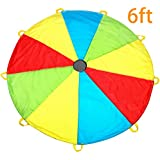 MountRhino Kids Parachute,6ft Play Parachute with 9 Handles - Multicolored Parachute for Kids,Kids Play Parachute for Indoor Outdoor Games Exercise Toy