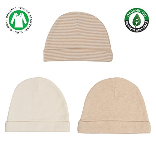 Niteo Organic Cotton Baby Caps, Luxuriously-Soft, All Natural, Dye-Free, 3-Pack, Solid/Pinstripes, 3M