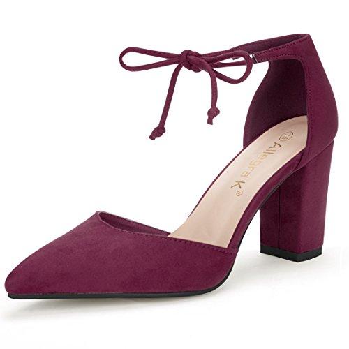 Burgundy Heels - Allegra K Women's Ankle Tie Burgundy Pumps - 8 M US