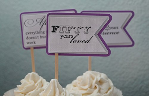 All About Details Purple Grape 50th Birthday Quotes Cupcake Toppers, Set of 12