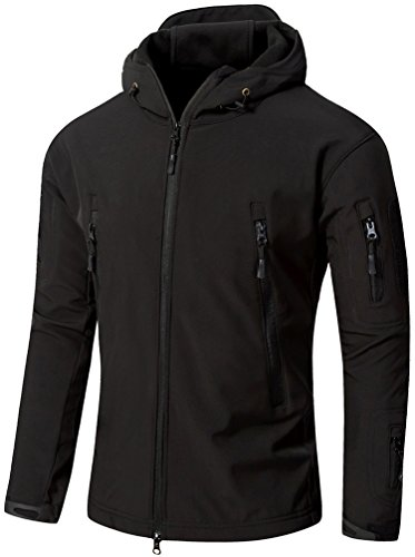 Camo Coll Men's Outdoor Soft Shell Hooded Tactical Jacket (M, Black) by Camo Coll