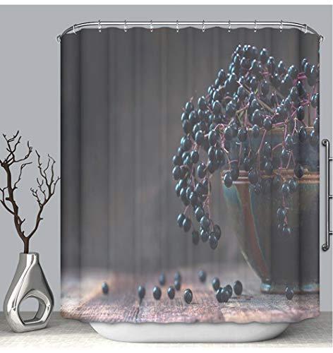 (BEICICI Color Shower Curtain Liner Anti-Mildew Antibacterial Black elderberries Sambucus nigra in a Bowl Dark Rustic Wood Custom Shower Curtain Bathtub Bathroom Accessories 72W×96Linch)