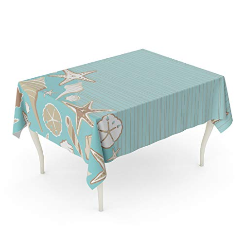 Semtomn Rectangle Tablecloth Seashell Beach Party Variety of Shells on Aqua Teal 52 x 70 Inch Home Decorative Waterproof Oil-Proof Printed Table Cloth