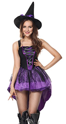 [Luruiya Women's Broomstick Babe Witch Halloween Costume with Lace Overlay Skirt and Hat with Ribbon Purple] (Broomstick Babe Halloween Costume)