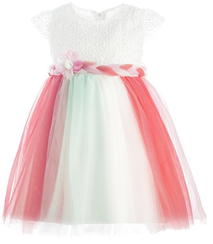 Lilax Little Girls' Colorful Tutu Dress 3T Mint/Pink
