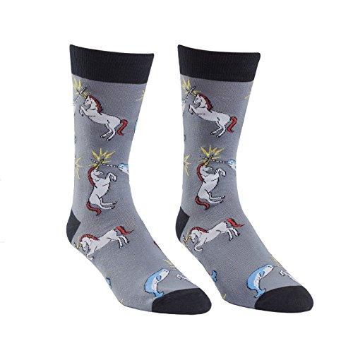 Sock It To Me, Unicorn vs. Narwhal, Men's Crew Socks, Size 7 - 13, Unicorn Socks