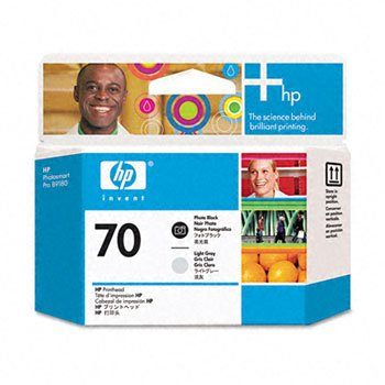 HP 70 Printhead Cartridge, Black/Light Gray
