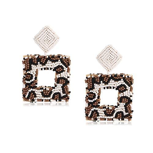 (Beaded Statement Earrings Handmade Leopard Seed Bead Drop Earrings Bohemian Square Hoop Stud Dangle Earrings For Women (A#Leopard))