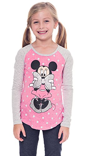 Disney Girl's T-shirt Minnie Mouse Glitter Bow Raglan Polka Dot Print (Medium) (Girls Glitter T-shirt)