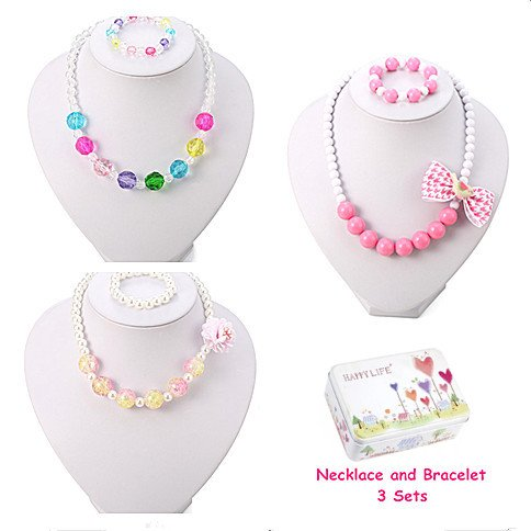 PinkSheep Kids Beaded Necklace and Bracelet 3 Sets, Little Girls Jewelry In Box, Favors Bags For (Girls Beaded Necklace)