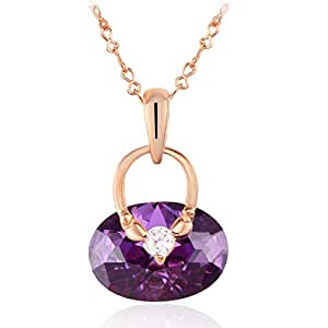 ZMC Women's Purple Violet Pendant Necklace