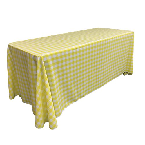 L.A. Linen Poly Checkered Rectangular Tablecloth, 90 by 1...
