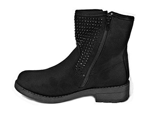 Womens Ladies Autumn Faux Suede Sequin Ankle Boots Block Low Heel Side Zip Shoes New Black (S0-3) PsFsb4D