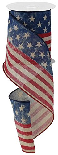 Rustic American Flag Ribbon for Fourth of July, 4