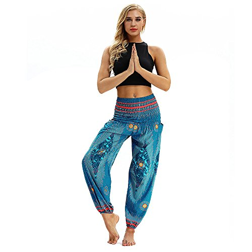 Pant Linen Career (Women Boho Casual Loose Hippy Yoga Trousers Baggy Aladdin Harem Comfort Pants Free MITIY, Size)