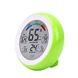LtrottedJ Humidity Meters Screen Control Thermometer Round Home Digital Hygrometer ,Indoor Humidity (Green)