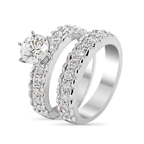 (Art of Fine 14K White Gold (1.54cttw) 6.50mm Forever One Colorless Moissanite Six Prong Cathedral Wedding Set with Milgrain Edges)