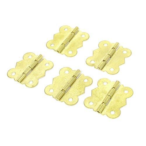 DealMux Cabinet Closet Door 30mmx27mm 90 Degree Metal Hinges Gold Tone 5pcs