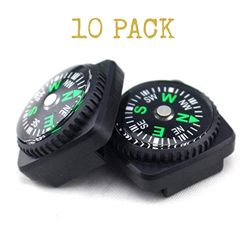 ClipGrip AMZ Wholesale Compass Set | Hard Shell Liquid Filled Button Compass Set for Survival Watch Band Paracord Bracelet | Pack of 12 -