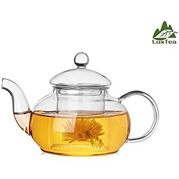 Luxtea 600ml / 21oz Borosilicate Teapot Scented Tea Infuser Heat Resistant Teapot Set For Tea Display, Scented Tea, etc