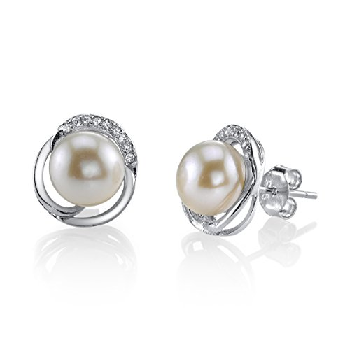 8mm Freshwater Pearl Ring (8mm White Freshwater Cultured Pearl & Crystal Johnson Earrings)