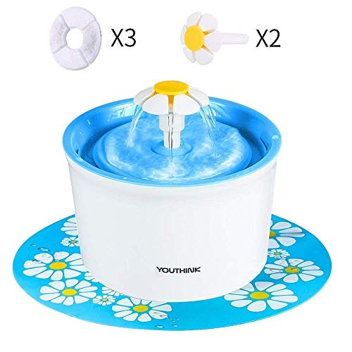 Pet Fountain, 1.6L Cat Water Fountain with 3 Filters, 2 Flowers and 1 Silicone Mat, YOUTHINK Pet Drinking Fountain for Dogs and Cats