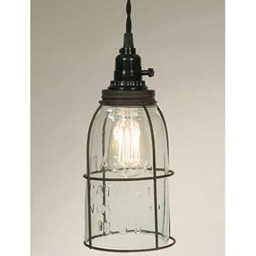 Colonial Tin Works Rustic Half Gallon Caged Mason Jar Open Bottom Industrial Pendant Light Lamp Gr, Multicolor,