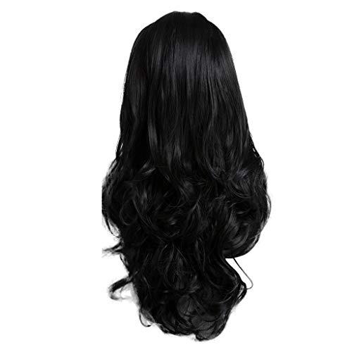 Long Curly Wigs Silk Black Hair Lace Rose Net Wig Wigs for Women (A)