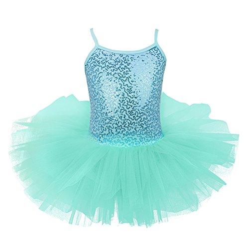 - Alvivi Kids Girls Glitter Sequined Camisole Leotard Ballet Tutu Dress Ballerina Dance wear Costumes Turquoise 5-6