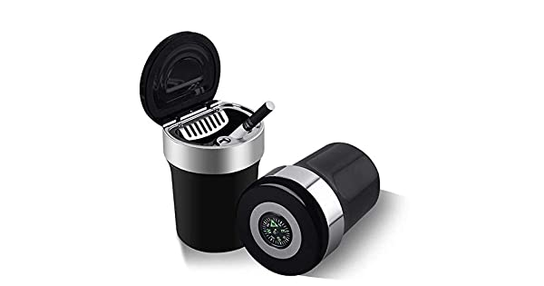 Color :Black, Size : 4.4 * 3 * 2.6in OhLt-j Portable Travel Auto Car Ashtray with Lids Blue LED Light Smokeless Stand Cylinder Ash Holder Compass Interior Accessories