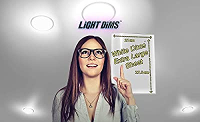 """LightDims Customizable White Dims - Light Dimming Sheet for Harsh LED Lights, Electronics and Appliances and more. Dims 15-30% of Light, 8.7""""x3.5"""" Medium Size (2 sheets)"""