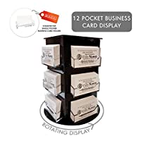 Clear Choice Deluxe Rotating Business Card Display | Great for Medical Offices, Law Firms, Banks, Real Estate Offices, Retail Stores, Schools and Much More | Counter-top Black