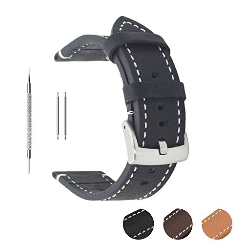 Berfine Soft Genuine Leather Watch Strap,Watch Band Replacement for Men and Women 18mm Black - Game Day Steel Band Watch