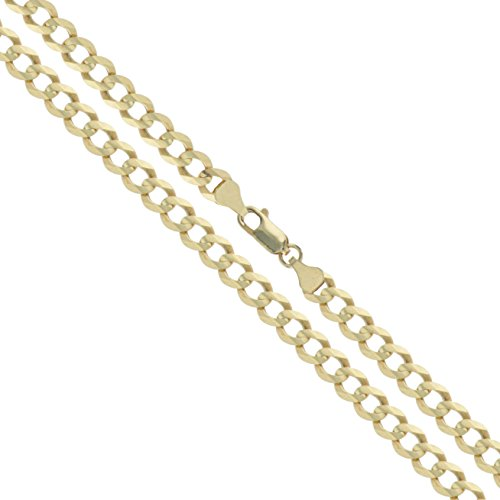 10k Yellow Gold-Hollow Curb Link Chain 4.3mm Necklace 22'' by Sac Silver