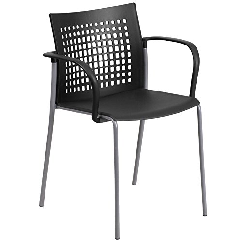 Flash Furniture HERCULES Series 551 lb. Capacity Black Stack Chair with Air-Vent Back and Arms (551 Series)